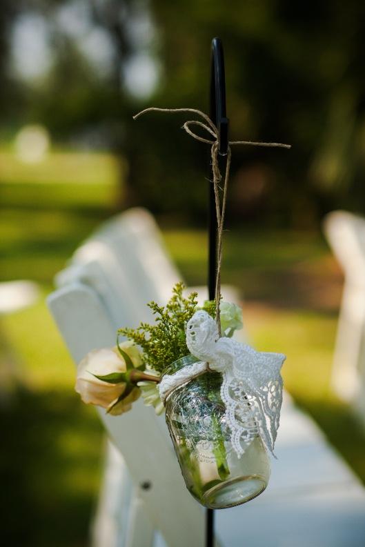 Aisle Flowers, Mason Jars, Shepherd Hook